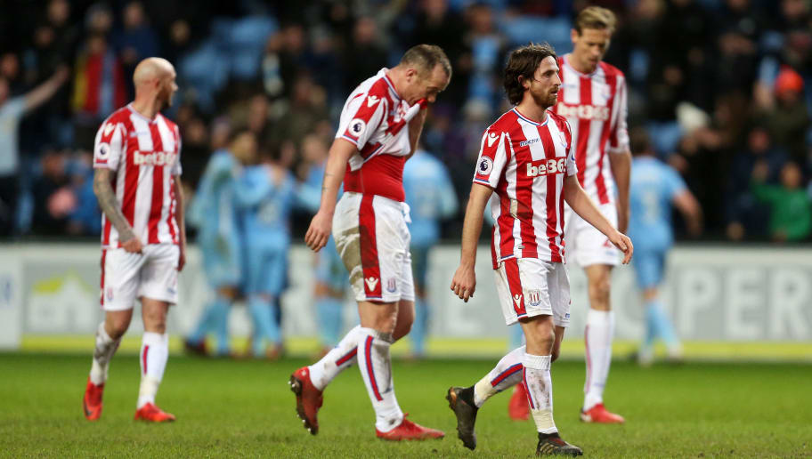 COVENTRY, ENGLAND - JANUARY 06: Dejected Stoke City players during The Emirates FA Cup Third match between Coventry City and Stoke City at Ricoh Arena on January 6, 2018 in Coventry, England. (Photo by James Baylis - AMA/Getty Images)