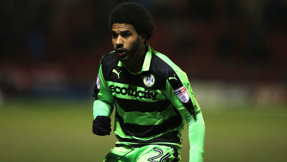 CREWE, ENGLAND - MARCH 20: Ruben Reid of Forest Green Rovers during the Sky Bet League Two match between Crewe Alexandra and Forest Green Rovers  at The Alexandra Stadium on March 20, 2018 in Crewe, England. (Photo by James Williamson - AMA/Getty Images)