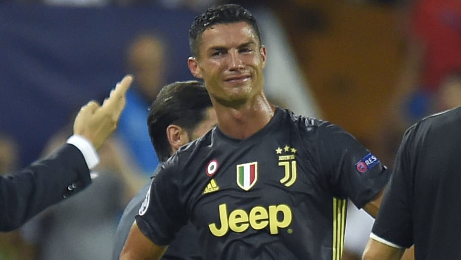 TOPSHOT - Juventus' Portuguese forward Cristiano Ronaldo reacts after receiving a red card during the UEFA Champions League group H football match between Valencia CF and Juventus FC at the Mestalla stadium in Valencia on September 19, 2018. (Photo by JOSE JORDAN / AFP)        (Photo credit should read JOSE JORDAN/AFP/Getty Images)