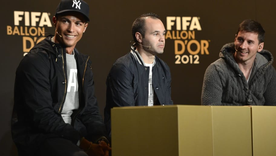 (L-R) Real Madrid's Portuguese forward Cristiano Ronaldo, Barcelona's Spanish midfielder Andres Iniesta and Barcelona's Argentinian forward Lionel Messi, the three finalists for the Fifa 2012 Ballon d'Or award give a press conference on January 7, 2013 at the Kongresshaus, ahead of the Fifa Ballon d'or award ceremony in Zurich.  AFP PHOTO / FABRICE COFFRINI        (Photo credit should read FABRICE COFFRINI/AFP/Getty Images)