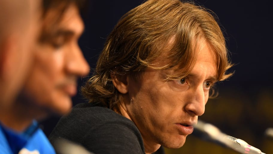 MOSCOW, RUSSIA - JULY 14:  Luka Modric speaks during a Croatia press conference during the 2018 FIFA World Cup at Luzhniki Stadium on July 14, 2018 in Moscow, Russia.  (Photo by Matthias Hangst/Getty Images)