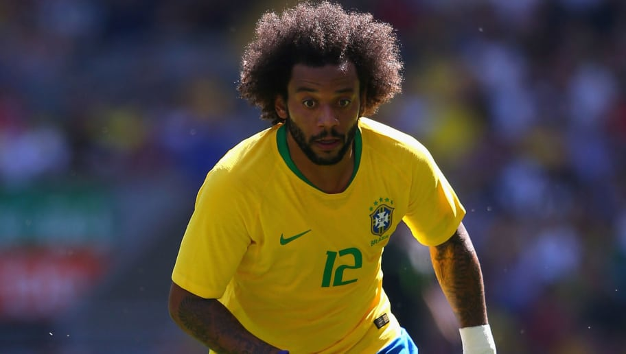 LIVERPOOL, ENGLAND - JUNE 03:  Marcelo of Brazil during the International friendly match between of Croatia and Brazil at Anfield on June 3, 2018 in Liverpool, England.  (Photo by Alex Livesey/Getty Images)