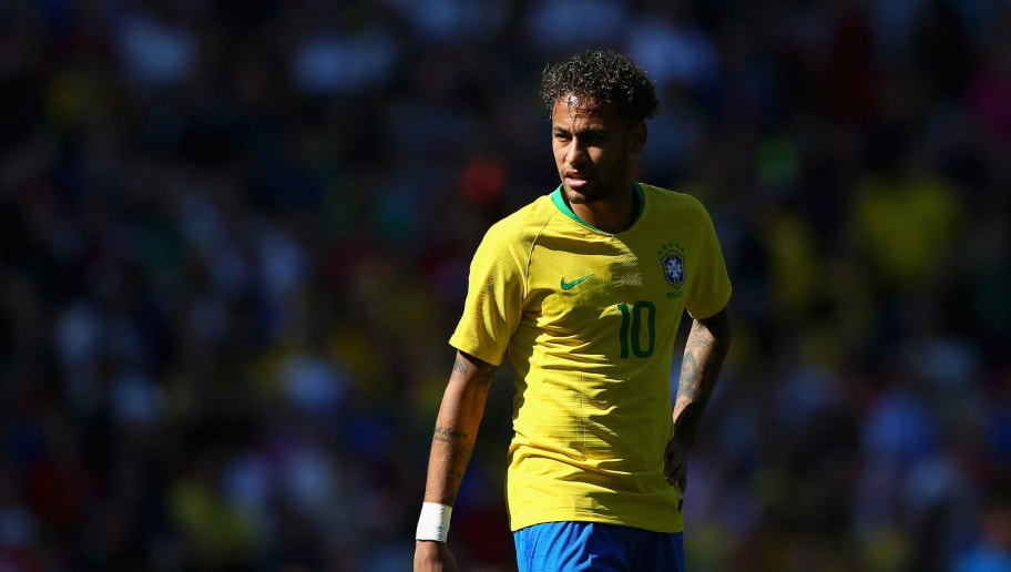 LIVERPOOL, ENGLAND - JUNE 03:  Neymar Junior of Brazil looks on during the International friendly match between of Croatia and Brazil at Anfield on June 3, 2018 in Liverpool, England.  (Photo by Alex Livesey/Getty Images)