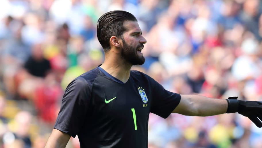 LIVERPOOL, ENGLAND - JUNE 03: Alisson of Brazil during the International friendly match between Croatia and Brazil at Anfield on June 3, 2018 in Liverpool, England. (Photo by James Williamson - AMA/Getty Images)