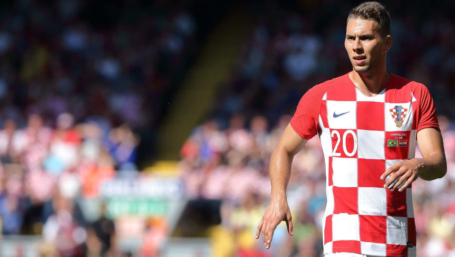 LIVERPOOL, ENGLAND - JUNE 03: Marko Pjaca of Croatia during the International friendly match between Croatia and Brazil at Anfield on June 3, 2018 in Liverpool, England. (Photo by James Williamson - AMA/Getty Images)