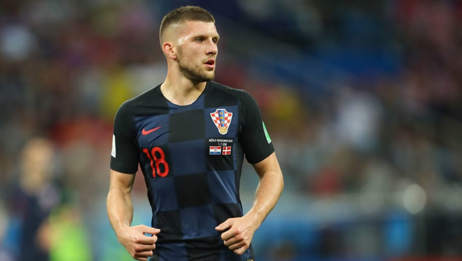 NIZHNY NOVGOROD, RUSSIA - JULY 01:   Ante Rebic of Croatia in action during the 2018 FIFA World Cup Russia Round of 16 match between Croatia and Denmark at Nizhny Novgorod Stadium on July 1, 2018 in Nizhny Novgorod, Russia. (Photo by Robbie Jay Barratt - AMA/Getty Images)
