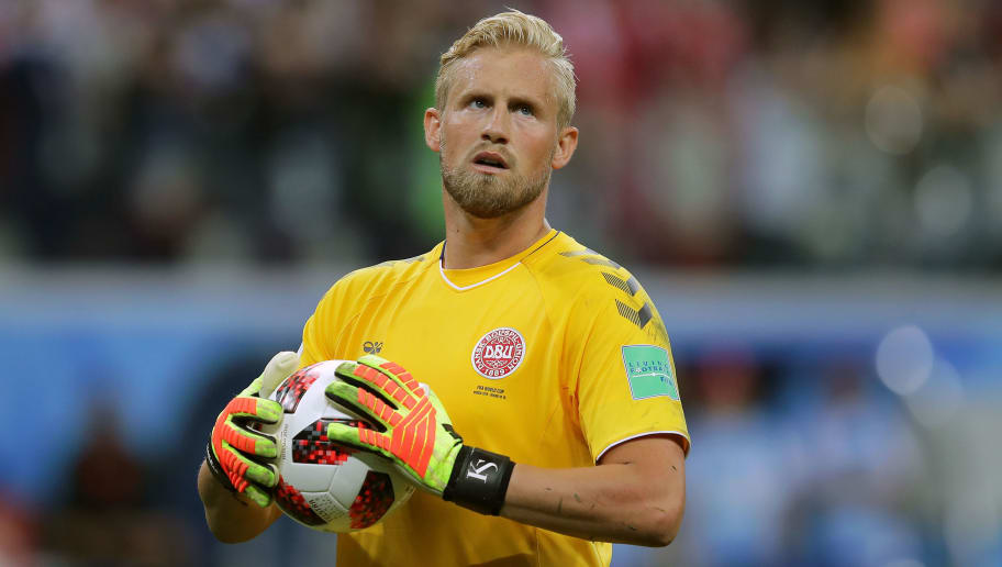 NIZHNY NOVGOROD, RUSSIA - JULY 01:  Kasper Schmeichel of Denmark looks on during the 2018 FIFA World Cup Russia Round of 16 match between 1st Group D and 2nd Group C at Nizhny Novgorod Stadium on July 1, 2018 in Nizhny Novgorod, Russia.  (Photo by Richard Heathcote/Getty Images)