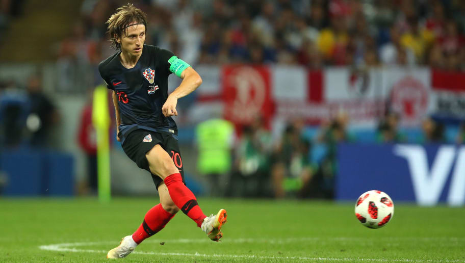 MOSCOW, RUSSIA - JULY 11:   Luka Modric of Croatia in action during the 2018 FIFA World Cup Russia Semi Final match between Croatia and England at Luzhniki Stadium on July 11, 2018 in Moscow, Russia. (Photo by Robbie Jay Barratt - AMA/Getty Images)