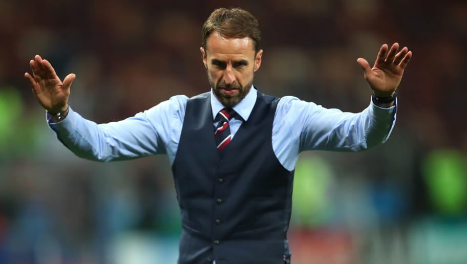 MOSCOW, RUSSIA - JULY 11:  Gareth Southgate head coach / manager of England acknowledges the fans at the end of the 2018 FIFA World Cup Russia Semi Final match between Croatia and England at Luzhniki Stadium on July 11, 2018 in Moscow, Russia. (Photo by Robbie Jay Barratt - AMA/Getty Images)