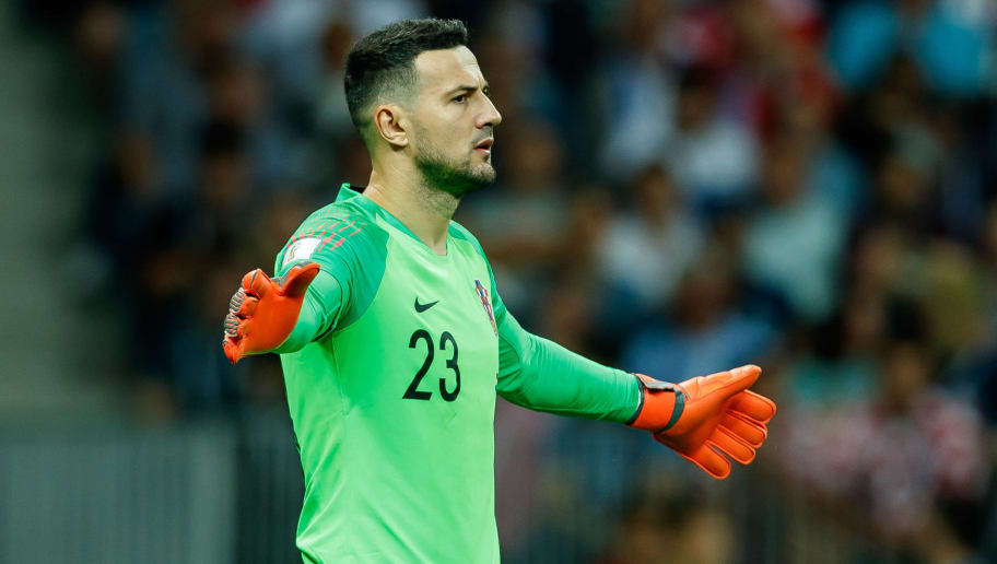 MOSCOW, RUSSIA - JULY 11: Goalkeeper Danijel Subasic of Croatia gestures during the 2018 FIFA World Cup Russia Semi Final match between Croatia and England at Luzhniki Stadium on July 11, 2018 in Moscow, Russia. (Photo by TF-Images/Getty Images)
