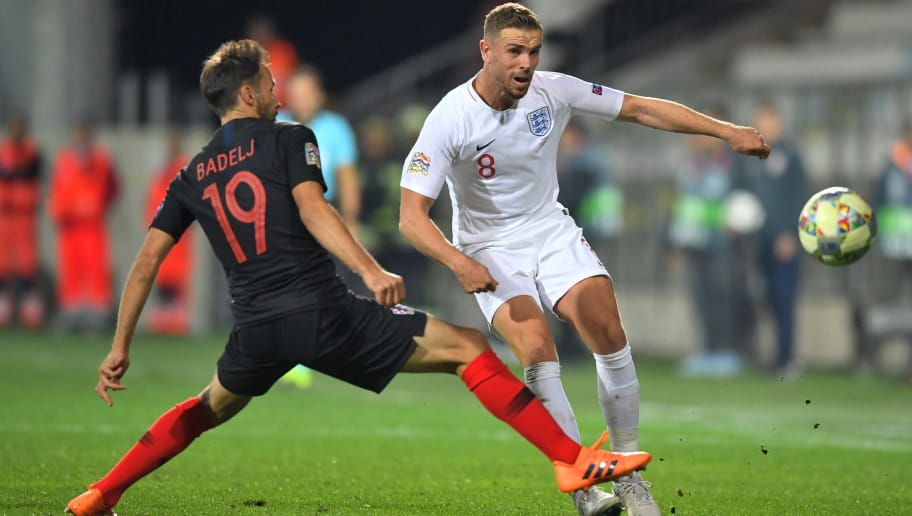 RIJEKA, CROATIA - OCTOBER 12:  Jordan Henderson of England takes on Milan Badelj of Croatia during the UEFA Nations League A Group Four match between Croatia and England at Stadion HNK Rijeka on October 12, 2018 in Rijeka, Croatia. The match is due to be played behind closed doors.  (Photo by Michael Regan/Getty Images)