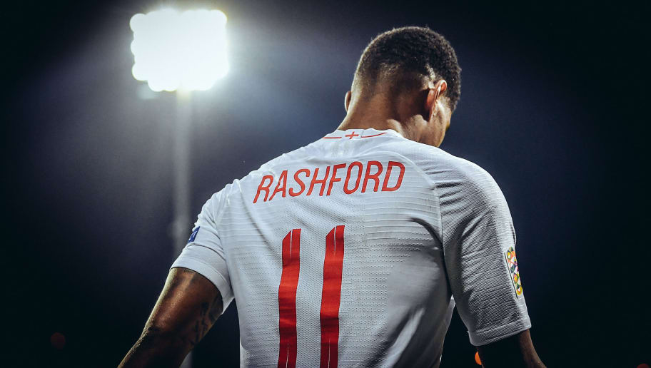 RIJEKA, CROATIA - OCTOBER 12: (EDITORS  NOTE:  Image has been digitally enhanced .) Marcus Rashford of England looks on during the UEFA Nations League A group four match between Croatia and England at  on October 12, 2018 in Rijeka, Croatia.  (Photo by Michael Regan/Getty Images)