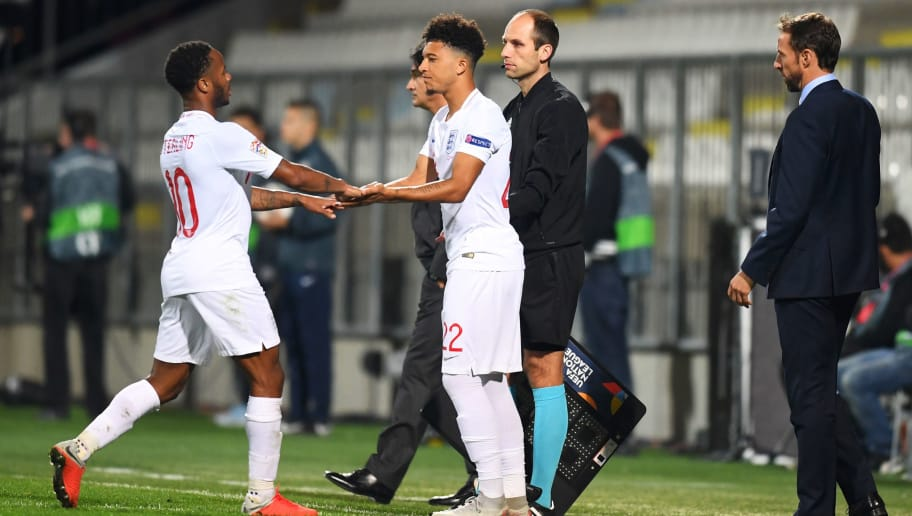 RIJEKA, CROATIA - OCTOBER 12:  Raheem Sterling of England is replaced by substitute Jadon Sancho of England during the UEFA Nations League A Group Four match between Croatia and England at Stadion HNK Rijeka on October 12, 2018 in Rijeka, Croatia. The match is due to be played behind closed doors.  (Photo by Michael Regan/Getty Images)