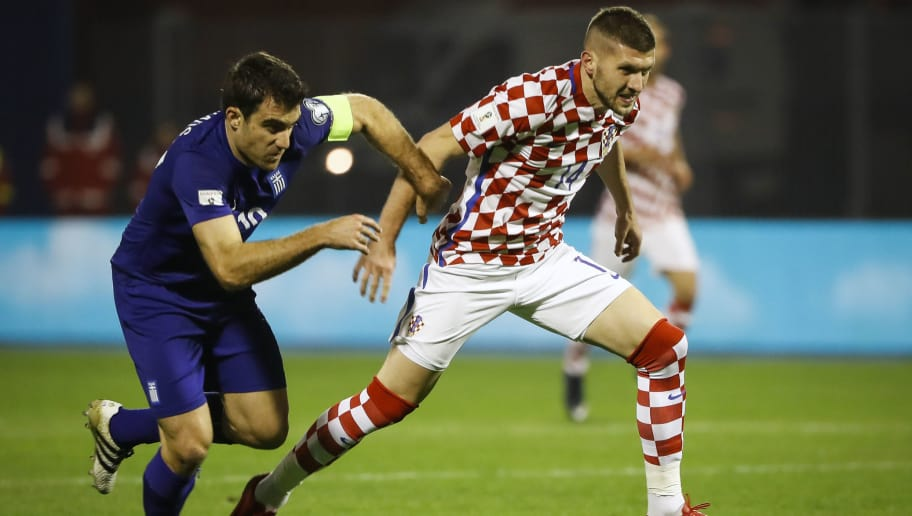 ZAGREB, CROATIA - NOVEMBER 09: Ante Rebic (R) of Croatia in action against Sokratis Papastathopoulos (L) of Greece during the FIFA 2018 World Cup Qualifier Play-Off: First Leg between Croatia and Greece at Stadion Maksimir on November 9, 2017 in Zagreb, Croatia (Photo by Srdjan Stevanovic/Getty Images)