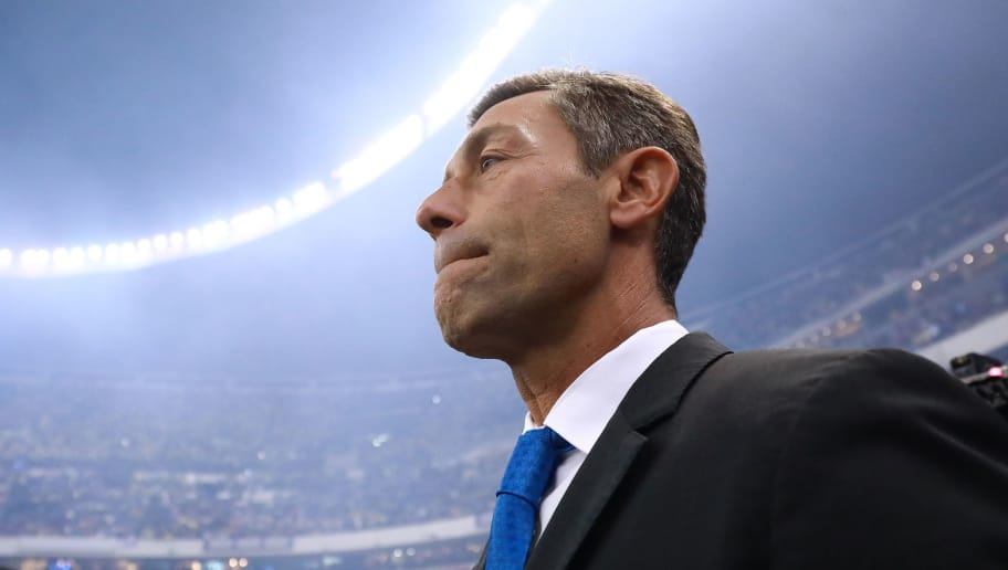 MEXICO CITY, MEXICO - DECEMBER 16: Pedro Caixinha Coach of Cruz Azul looks on during the final second leg match between Cruz Azul and America as part of the Torneo Apertura 2018 Liga MX at Azteca Stadium on December 16, 2018 in Mexico City, Mexico. (Photo by Hector Vivas/Getty Images)
