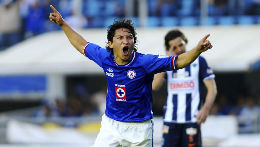 MEXICO CITY, MEXICO - APRIL 06:  Cesar Villaluz of Cruz Azul celebrate a scored goal during the semifinals of 2011 Concacaf Champions League at the Blue Stadium on April 06, 2011 in Mexico City, Mexico. (Photo by Jaime Lopez/LatinContent/Getty Images)