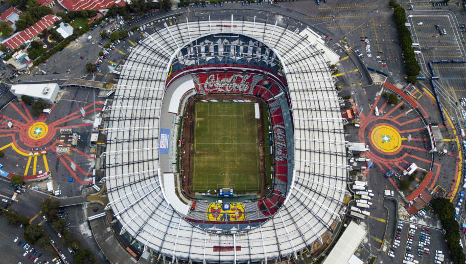 MEXICO CITY, MEXICO - SEPTEMBER 01: Aerial view of Azteca stadium prior to the 8th round match between Cruz Azul and Veracruz as part of the Torneo Apertura 2018 Liga MX at Azteca Stadium on September 1, 2018 in Mexico City, Mexico.  (Photo by Hector Vivas/Getty Images)