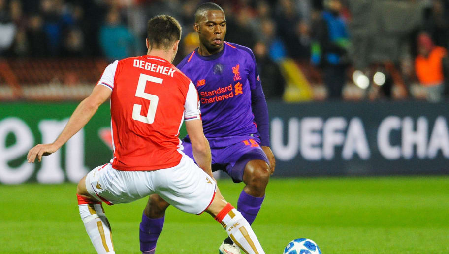BELGRADE, SERBIA - NOVEMBER 06: Daniel Sturridge of Liverpool in action during the Group C match of the UEFA Champions League between Red Star Belgrade and Liverpool at Rajko Mitic Stadium on November 6, 2018 in Belgrade, Serbia. (Photo by Krzysztof Porebski/PressFocus/MB Media/Getty Images)