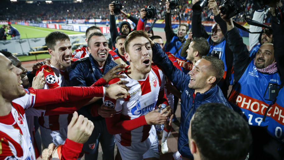 BELGRADE, SERBIA - NOVEMBER 06: Milan Pavkov (C) of Crvena Zvezda celebrates victory with team mates after the Group C match of the UEFA Champions League between Red Star Belgrade and Liverpool at Rajko Mitic Stadium on November 06, 2018 in Belgrade, Serbia. (Photo by Srdjan Stevanovic/Getty Images)
