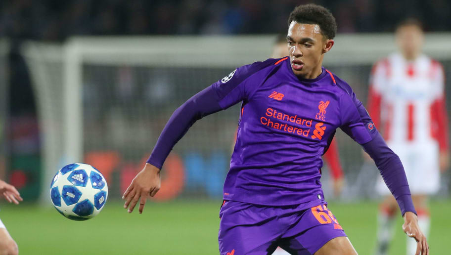 BELGRADE, SERBIA - NOVEMBER 06: Trent Alexander-Arnold of Liverpool controls the ball during the Group C match of the UEFA Champions League between Red Star Belgrade and Liverpool at Rajko Mitic Stadium on November 6, 2018 in Belgrade, Serbia. (Photo by TF-Images/Getty Images)