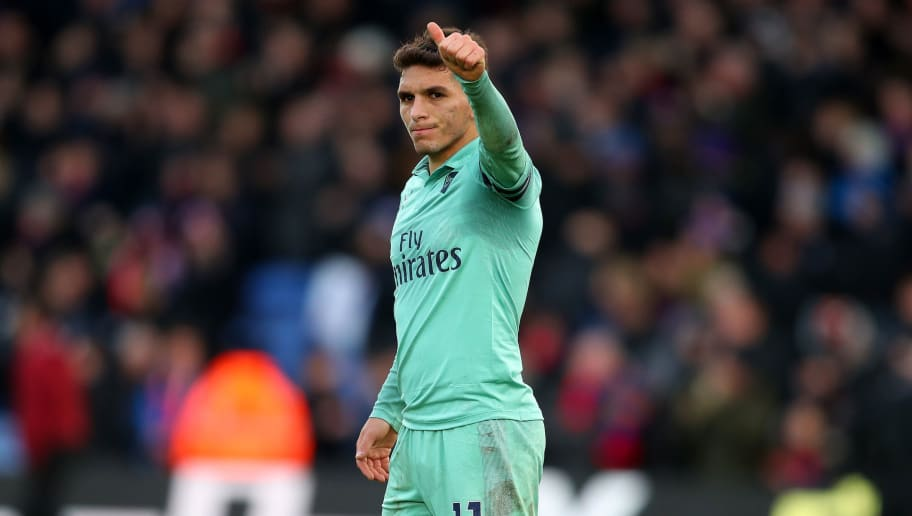 LONDON, ENGLAND - OCTOBER 28:  Lucas Torreira of Arsenal acknowledges the travelling support following the Premier League match between Crystal Palace and Arsenal FC at Selhurst Park on October 28, 2018 in London, United Kingdom.  (Photo by Catherine Ivill/Getty Images)