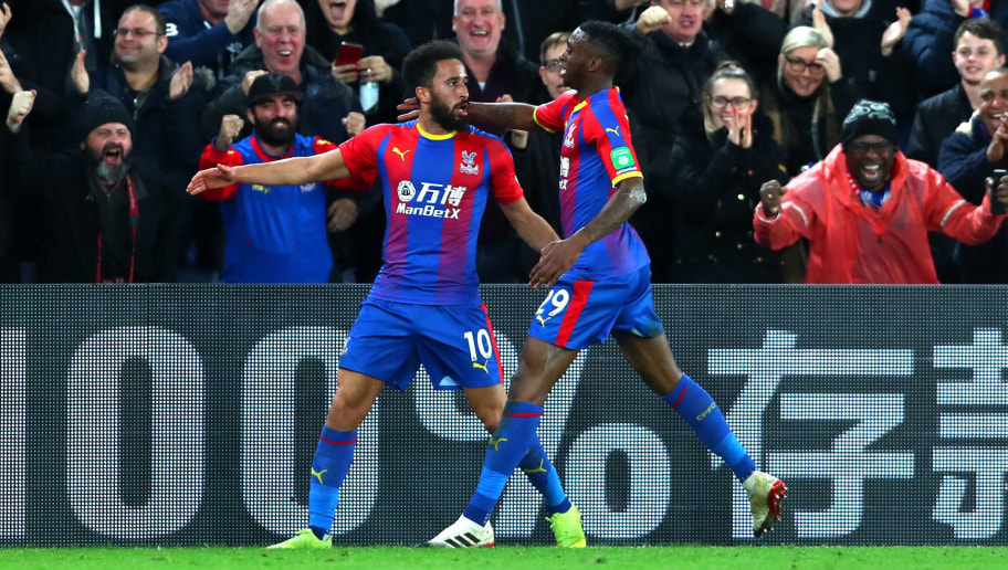 LONDON, ENGLAND - DECEMBER 01:  Andros Townsend of Crystal Palace celebrates after scoring his team's second goal with Aaron Wan-Bissaka of Crystal Palace during the Premier League match between Crystal Palace and Burnley FC at Selhurst Park on December 1, 2018 in London, United Kingdom.  (Photo by Clive Rose/Getty Images)