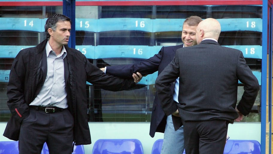 LONDON - AUGUST 24: Manager of Chelsea, Jose Mourinho, (L) with Chelsea owner Roman Abramovich  before the Barclays Premiership match between Crystal Palace and Chelsea at Selhurst Park on August 24, 2004 in London.  (Photo by Phil Cole/Getty Images)