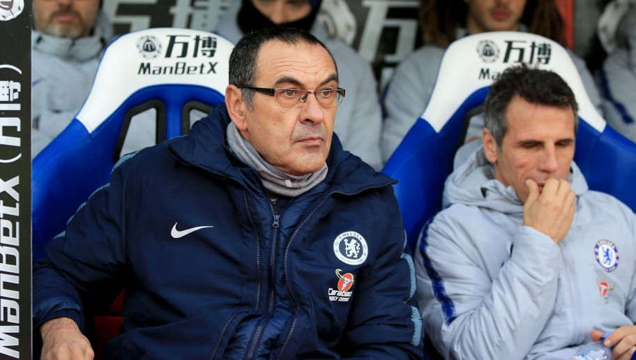 LONDON, ENGLAND - DECEMBER 30:  Maurizio Sarri, Manager of Chelsea looks on prior to the Premier League match between Crystal Palace and Chelsea FC at Selhurst Park on December 30, 2018 in London, United Kingdom.  (Photo by Marc Atkins/Getty Images)