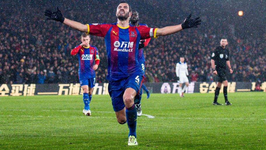 LONDON, ENGLAND - DECEMBER 15: Luka Milivojevic of Crystal Palace celebrate after scoring goal during the Premier League match between Crystal Palace and Leicester City at Selhurst Park on December 15, 2018 in London, United Kingdom. (Photo by MB Media/Getty Images)