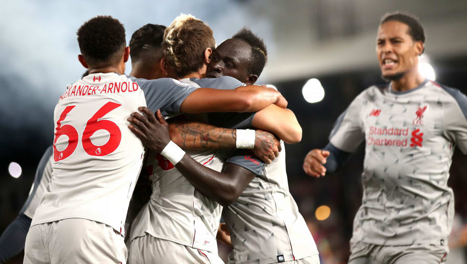 LONDON, ENGLAND - AUGUST 20:  Sadio Mane of Liverpool celebrates after scoring his team's second goal with team mates during the Premier League match between Crystal Palace and Liverpool FC at Selhurst Park on August 20, 2018 in London, United Kingdom.  (Photo by Julian Finney/Getty Images)