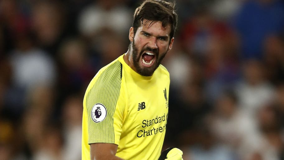 LONDON, ENGLAND - AUGUST 20:  Alisson of Liverpool celebrates during the Premier League match between Crystal Palace and Liverpool FC at Selhurst Park on August 20, 2018 in London, United Kingdom.  (Photo by Julian Finney/Getty Images)