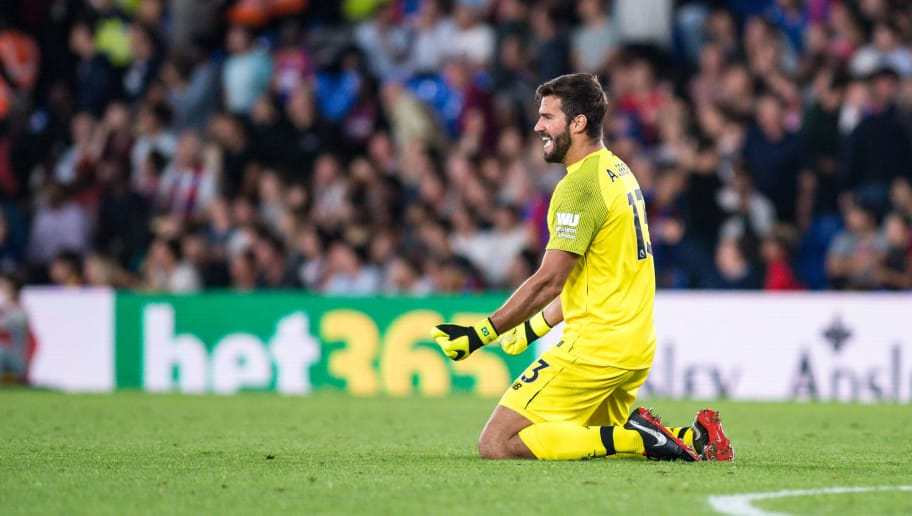 LONDON, ENGLAND - AUGUST 20: Alisson Becker goalkeeper of Liverpool gestures during the Premier League match between Crystal Palace and Liverpool FC at Selhurst Park on August 20, 2018 in London, United Kingdom. (Photo by Sebastian Frej/MB Media/Getty Images)
