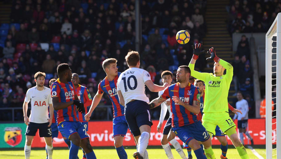 LONDON, ENGLAND - FEBRUARY 25:  Harry Kane of Tottenham Hotspur scores his sides first goal during the Premier League match between Crystal Palace and Tottenham Hotspur at Selhurst Park on February 25, 2018 in London, England.  (Photo by Mike Hewitt/Getty Images)