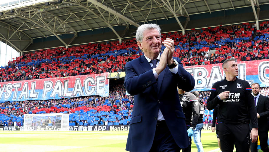 LONDON, ENGLAND - MAY 13:  Roy Hodgson, Manager of Crystal Palace shows appreciation to the fans prior to the Premier League match between Crystal Palace and West Bromwich Albion at Selhurst Park on May 13, 2018 in London, England.  (Photo by Christopher Lee/Getty Images)