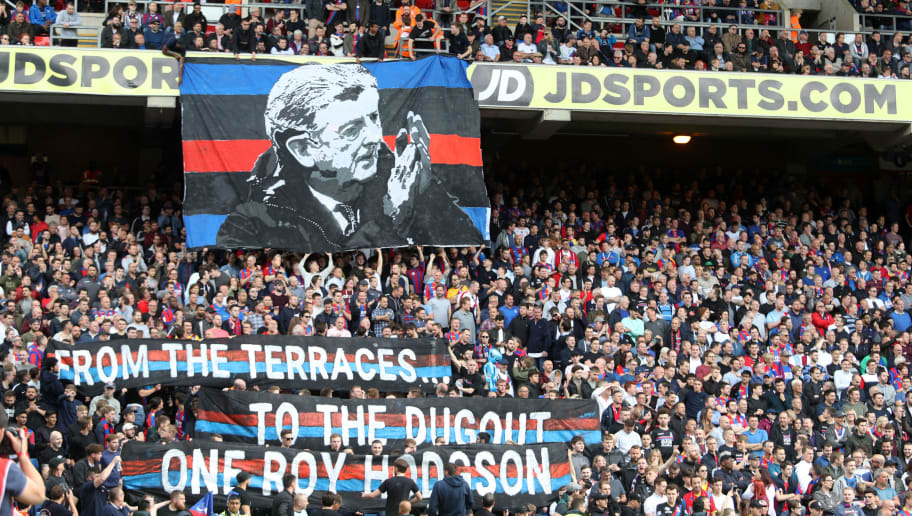 LONDON, ENGLAND - MAY 13:  Fans hold up signs thanking Roy Hodgson, Manager of Crystal Palace after  the Premier League match between Crystal Palace and West Bromwich Albion at Selhurst Park on May 13, 2018 in London, England.  (Photo by Christopher Lee/Getty Images)