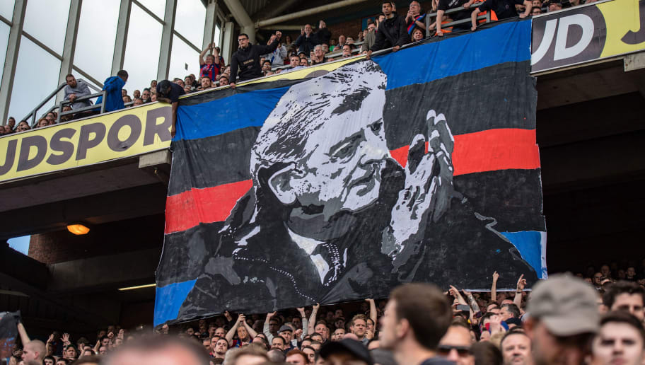 LONDON, ENGLAND - MAY 13:  Crystal Palace fans group Fanatics hold up banners during the Premier League match between Crystal Palace and West Bromwich Albion at Selhurst Park on May 13, 2018 in London, England. (Photo by Sebastian Frej/MB Media/Getty Images)