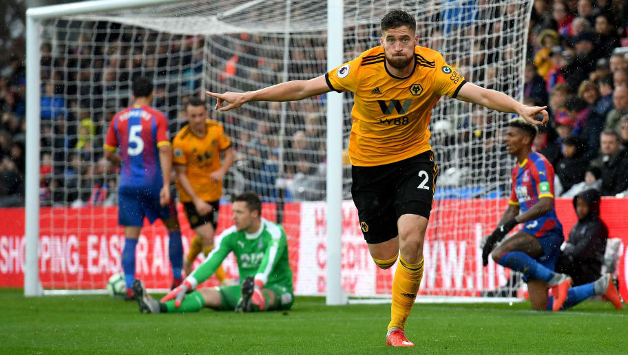 LONDON, ENGLAND - OCTOBER 06: Matt Doherty of Wolverhampton Wanderers celebrates after scoring a goal to make it 0-1 during the Premier League match between Crystal Palace and Wolverhampton Wanderers at Selhurst Park on October 6, 2018 in London, United Kingdom. (Photo by Sam Bagnall - AMA/Getty Images)