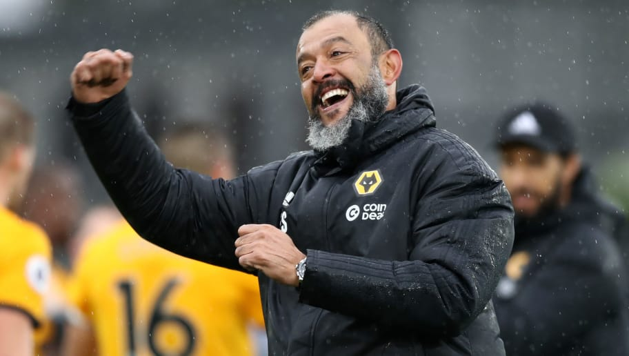 LONDON, ENGLAND - OCTOBER 06:  Nuno Espirito Santo, Manager of Wolverhampton Wanderers celebrates his team's victory after the Premier League match between Crystal Palace and Wolverhampton Wanderers at Selhurst Park on October 6, 2018 in London, United Kingdom.  (Photo by Bryn Lennon/Getty Images)