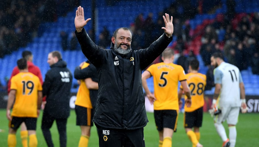 LONDON, ENGLAND - OCTOBER 06: Nuno Espirito Santo the head coach / manager of Wolverhampton Wanderers celebrates victory at full timeduring the Premier League match between Crystal Palace and Wolverhampton Wanderers at Selhurst Park on October 6, 2018 in London, United Kingdom. (Photo by Sam Bagnall - AMA/Getty Images)