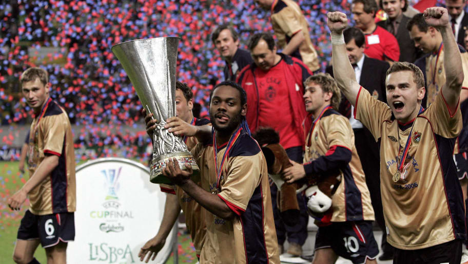 LISBON, Portugal:  CSKA Moscow's Brazilian forward Vagner Love (2nd L) celebrates with the trophy at the end of the UEFA cup final football match Sporting Lisbon vs CSKA Moscow, 18 May 2005 at the Alvalade stadium in Lisbon. Moscow won 3 to 1. AFP PHOTO YURI KADOBNOV  (Photo credit should read YURI KADOBNOV/AFP/Getty Images)