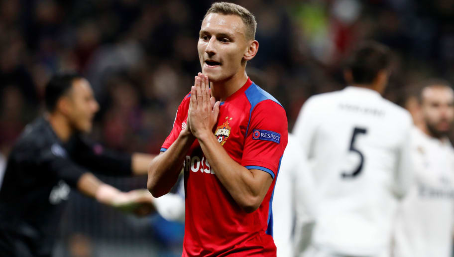 MOSCOW, RUSSIA - OCTOBER 02: Fedor Chalov of CSKA Moscow reacts during the Group G match of the UEFA Champions League between CSKA Moscow and Real Madrid at Luzhniki Stadium on October 2, 2018 in Moscow, Russia. (Photo by MB Media/Getty Images)