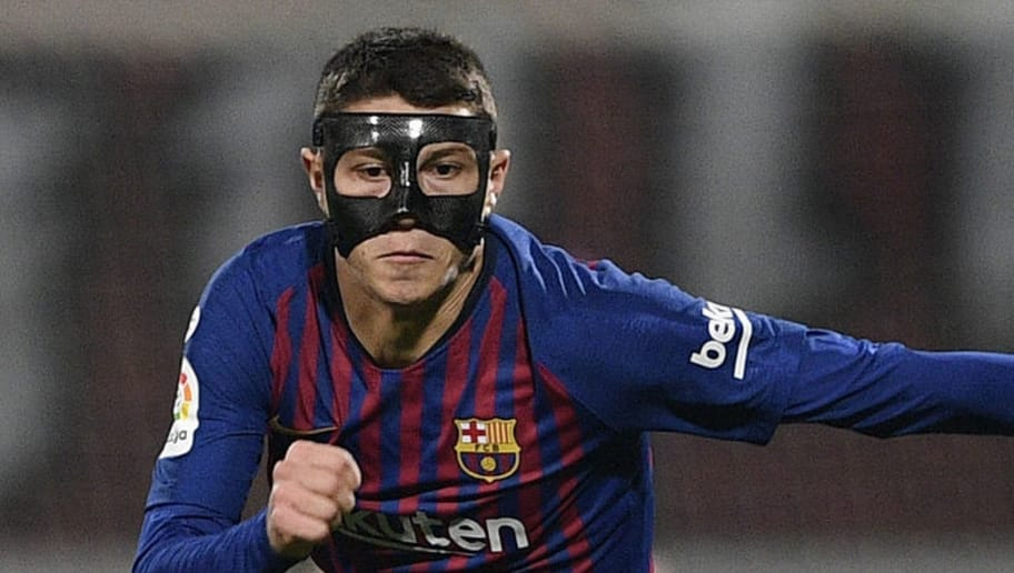 LEON, SPAIN - OCTOBER 31: Jorge Cuenca of FC Barcelona in action during the Spanish Copa del Rey match between Cultural Leonesa and FC Barcelona at Estadio Reino de Leon on October 31, 2018 in Leon, Spain. (Photo by Octavio Passos/Getty Images)