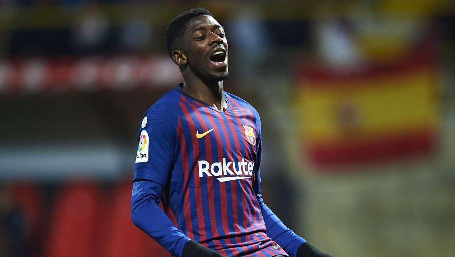LEON, SPAIN - OCTOBER 31:  Ousmane Dembele of FC Barcelona reacts during the Spanish Copa del Rey match between Cultura Leonesa and FC Barcelona at Estadio Reino de Leon on October 31, 2018 in Leon, Spain.  (Photo by Juan Manuel Serrano Arce/Getty Images)