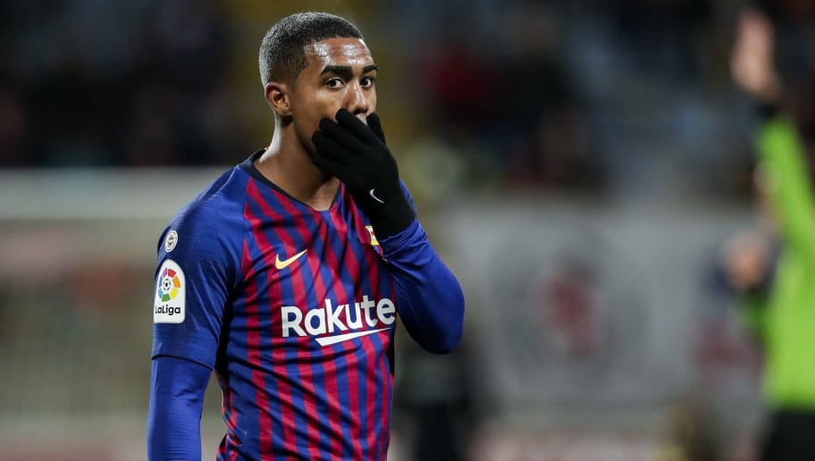 LEON, SPAIN - OCTOBER 31: Malcom of FC Barcelona during the Spanish Copa del Rey  match between Cultural Leonesa v FC Barcelona at the Estadio Municipal Reino de León on October 31, 2018 in Leon Spain (Photo by David S. Bustamante/Soccrates/Getty Images)