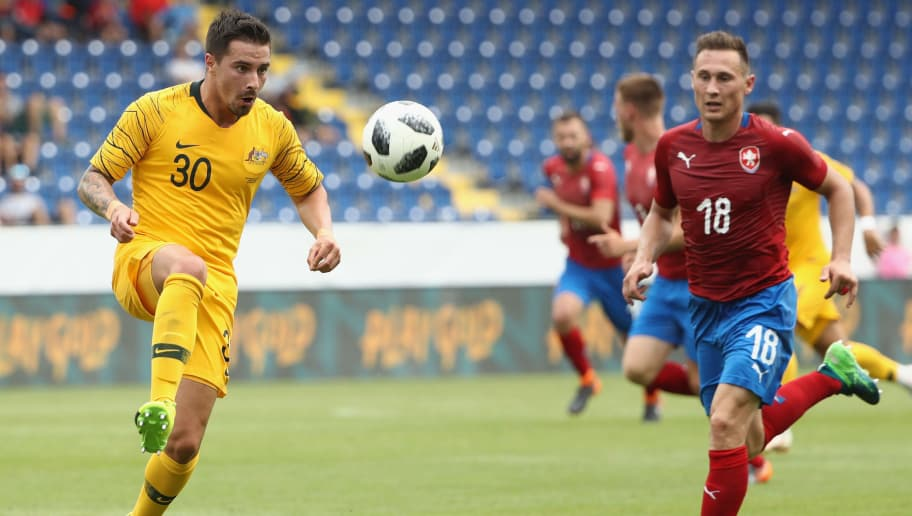 SANKT POLTEN, AUSTRIA - JUNE 01: Jamie McLaren of Australia controls the ball during the International Friendly match between the Czech Republic and Australia Socceroos at NV Arena on June 1, 2018 in Sankt Polten, Austria.  (Photo by Robert Cianflone/Getty Images)