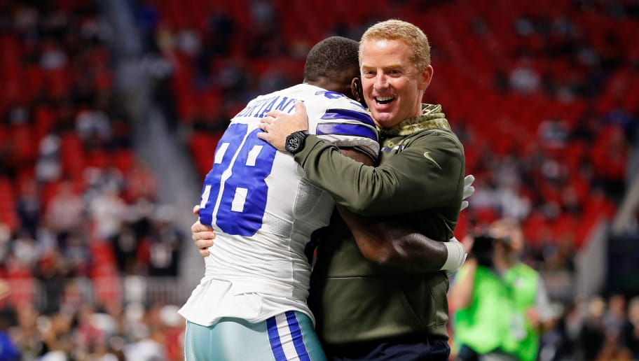 ATLANTA, GA - NOVEMBER 12: Dez Bryant #88 hugs head coach Jason Garrett of the Dallas Cowboys prior to the game against the Atlanta Falcons at Mercedes-Benz Stadium on November 12, 2017 in Atlanta, Georgia. (Photo by Kevin C.  Cox/Getty Images)