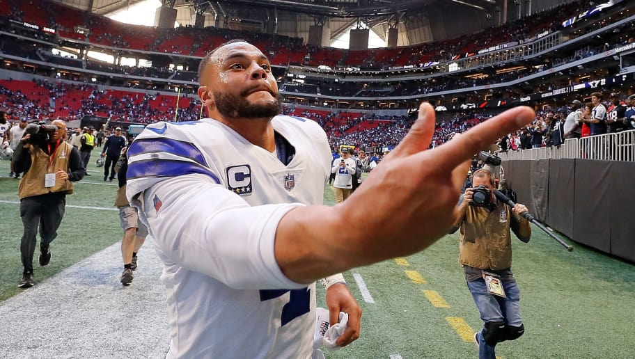 ATLANTA, GA - NOVEMBER 18:  Dak Prescott #4 of the Dallas Cowboys celebrates their 22-19 win over the Atlanta Falcons at Mercedes-Benz Stadium on November 18, 2018 in Atlanta, Georgia.  (Photo by Kevin C. Cox/Getty Images)