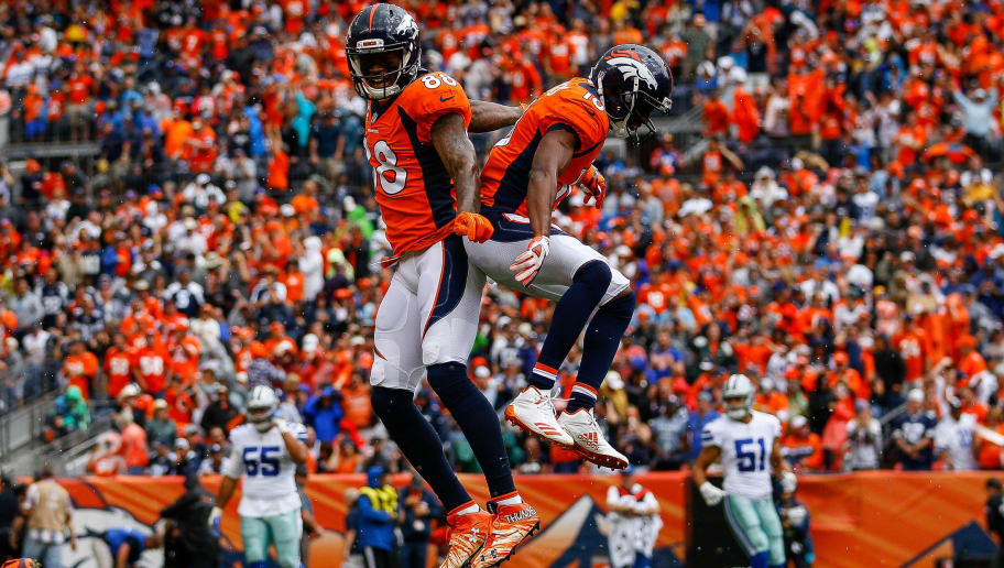DENVER, CO - SEPTEMBER 17:  Emmanuel Sanders #10 and wide receiver Demaryius Thomas #88 of the Denver Broncos celebrate after a first quarter touchdown against the Dallas Cowboys at Sports Authority Field at Mile High on September 17, 2017 in Denver, Colorado. (Photo by Justin Edmonds/Getty Images)