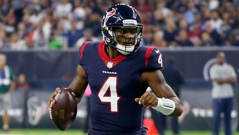 HOUSTON, TX - OCTOBER 07: Deshaun Watson #4 of the Houston Texans runs with the ball against the Dallas Cowboys at NRG Stadium on October 7, 2018 in Houston, Texas. Houston won 19-16 in overtime. (Photo by Bob Levey/Getty Images)