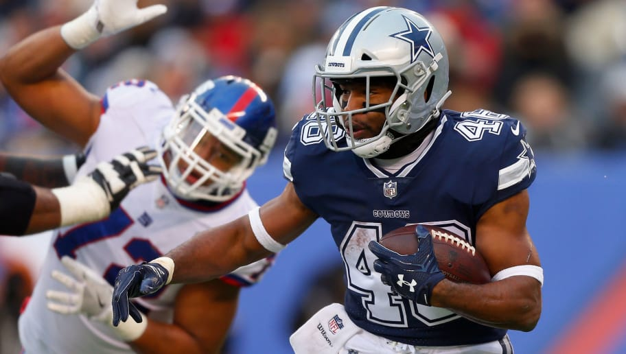 EAST RUTHERFORD, NJ - DECEMBER 10:  (NEW YORK DAILIES OUT)   Alfred Morris #46 of the Dallas Cowboys in action against the New York Giants on December 10, 2017 at MetLife Stadium in East Rutherford, New Jersey. The Cowboys defeated the Giants 30-10.  (Photo by Jim McIsaac/Getty Images)